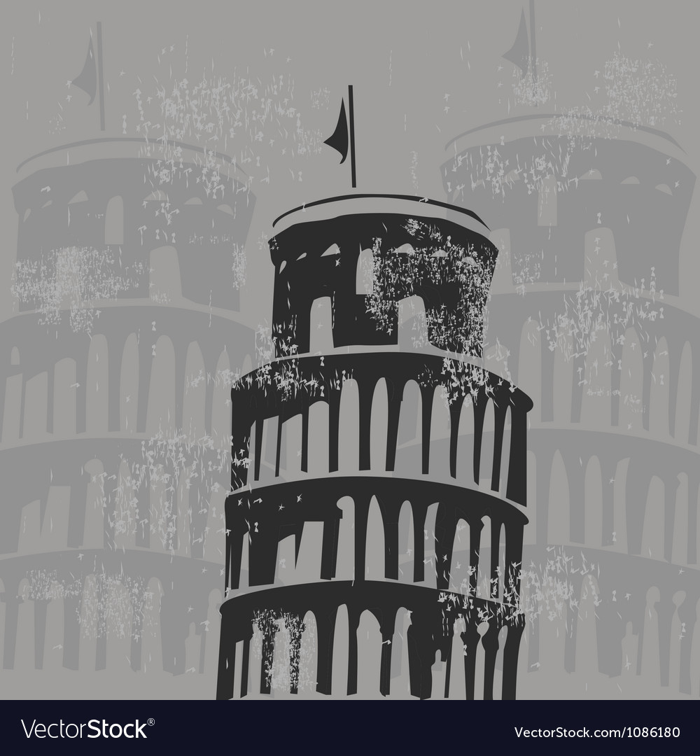 Learning tower of pisa grunge vector | Price: 1 Credit (USD $1)