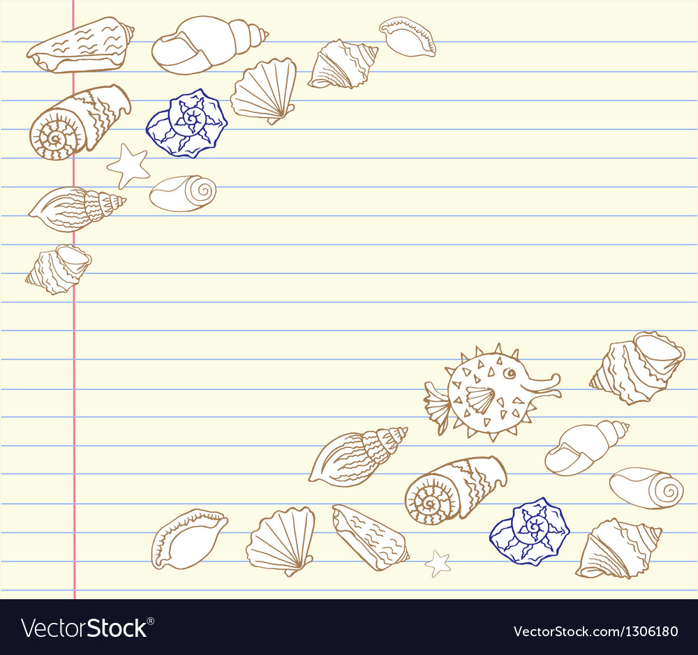 Notebook design set with cockleshells vector | Price: 1 Credit (USD $1)