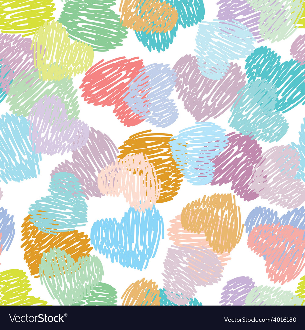 Seamless pattern with sketch hearts pastel color vector | Price: 1 Credit (USD $1)