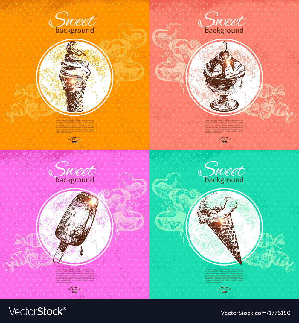 Set of vintage sweet backgrounds vector | Price: 1 Credit (USD $1)