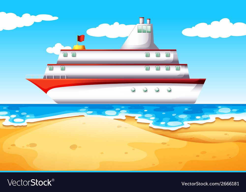 A ship at the beach vector | Price: 1 Credit (USD $1)