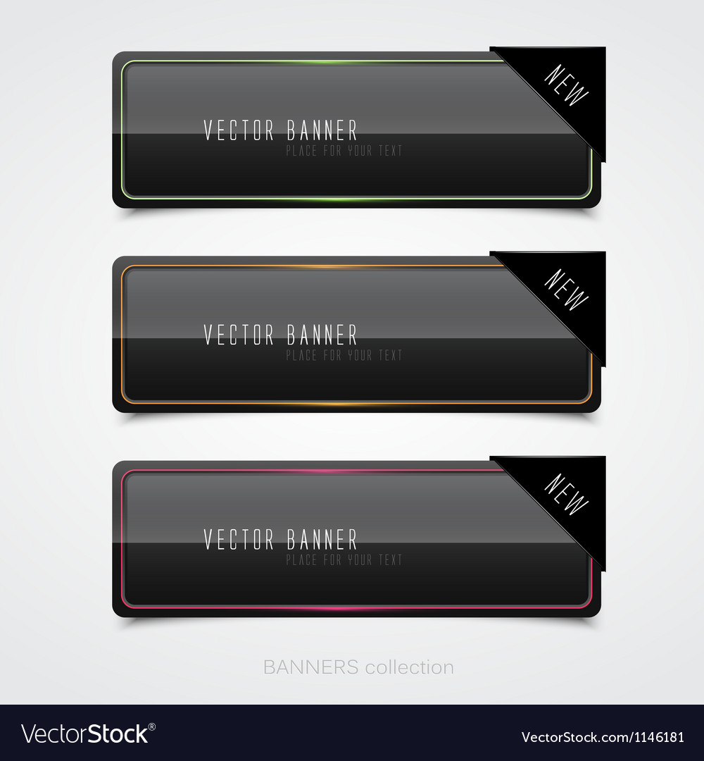 Black banners vector | Price: 1 Credit (USD $1)