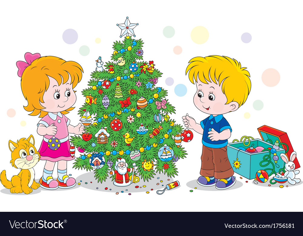 Children decorating a christmas tree vector | Price: 1 Credit (USD $1)