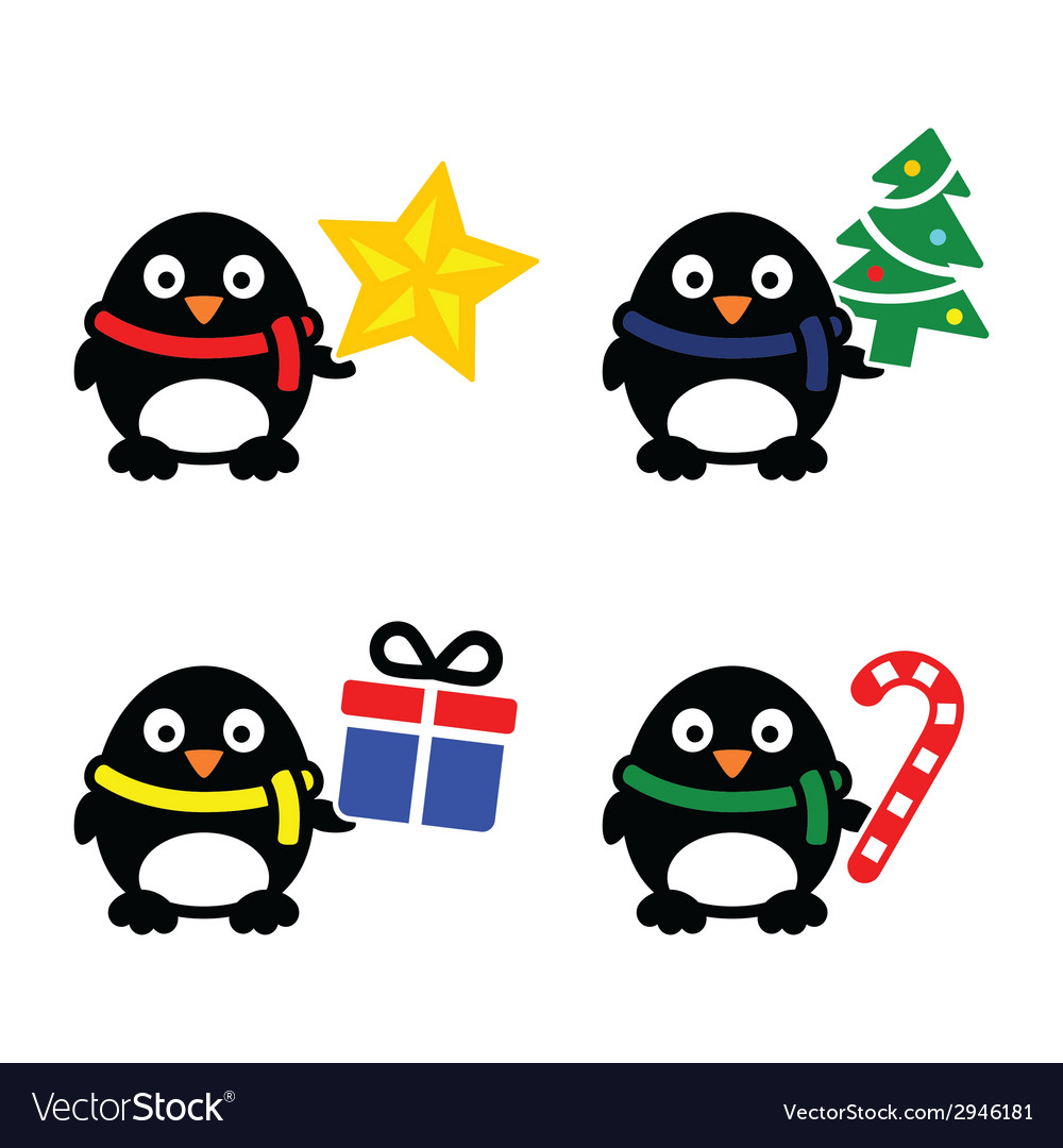 Christmas cute penguin icons set vector | Price: 1 Credit (USD $1)
