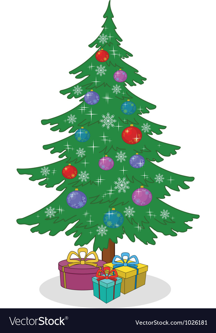 Christmas tree with toys and gift boxes vector | Price: 1 Credit (USD $1)