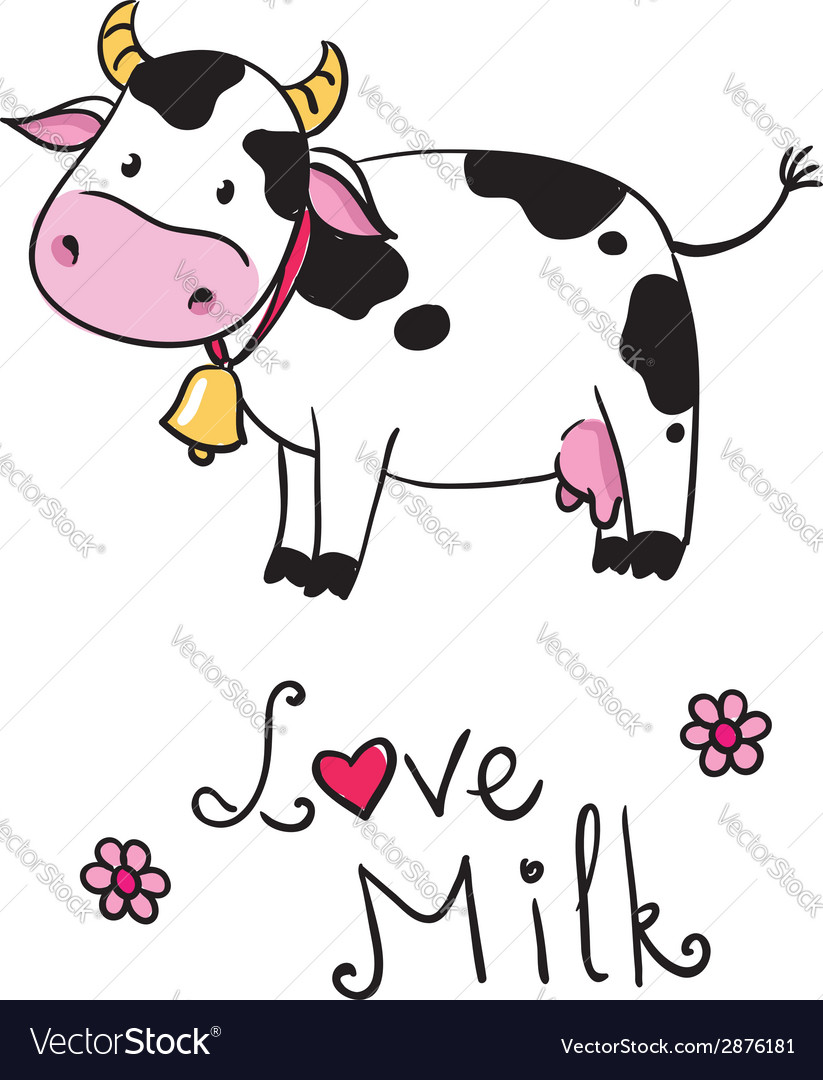 Cow i love milk vector | Price: 1 Credit (USD $1)