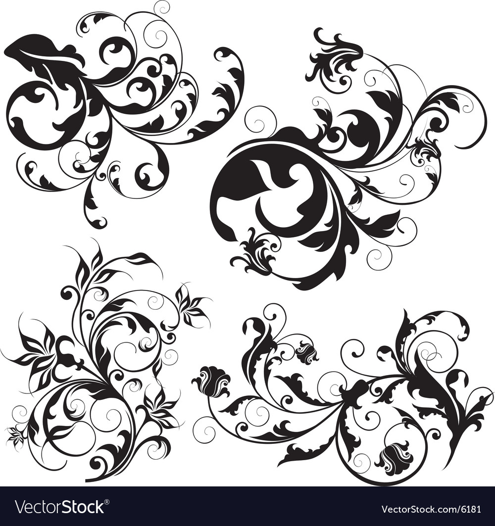 Floral design elements vector | Price: 3 Credit (USD $3)
