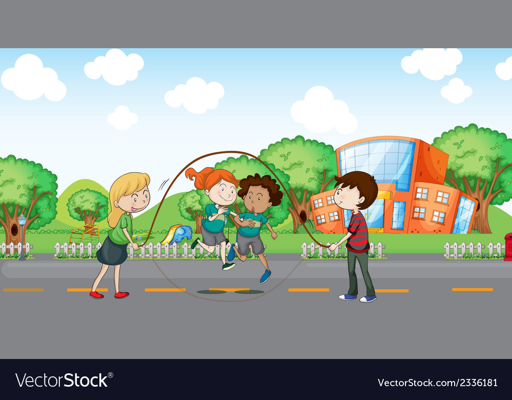 Kids playing at the road vector | Price: 3 Credit (USD $3)