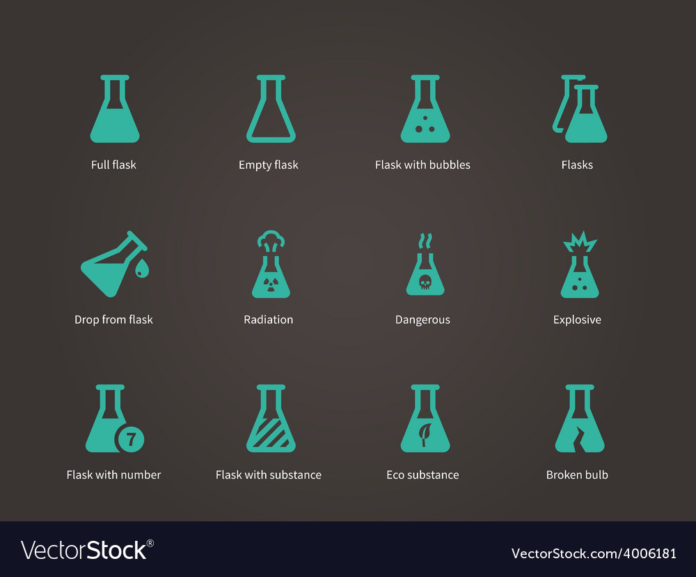 Laboratory glass and flask icons set vector | Price: 1 Credit (USD $1)