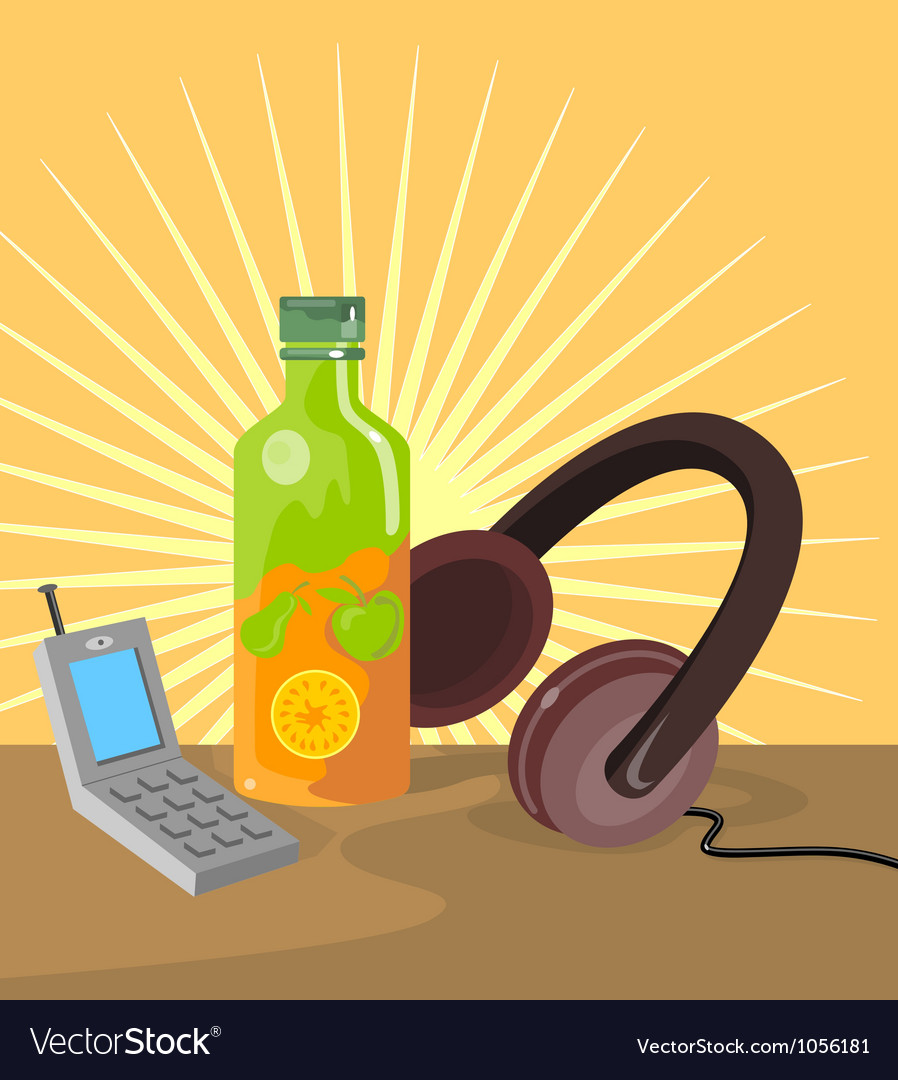 Mobile phone soda drink headphone retro vector | Price: 3 Credit (USD $3)