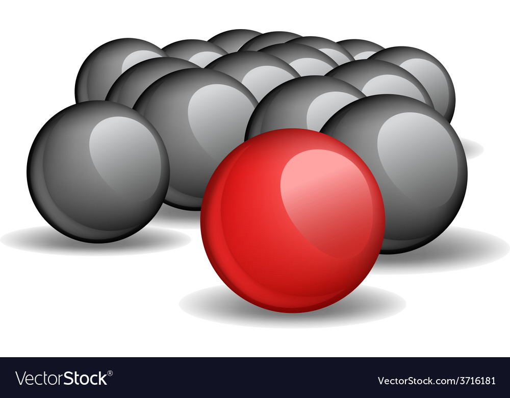 One red unique sphere came forward from a crowd of vector | Price: 1 Credit (USD $1)