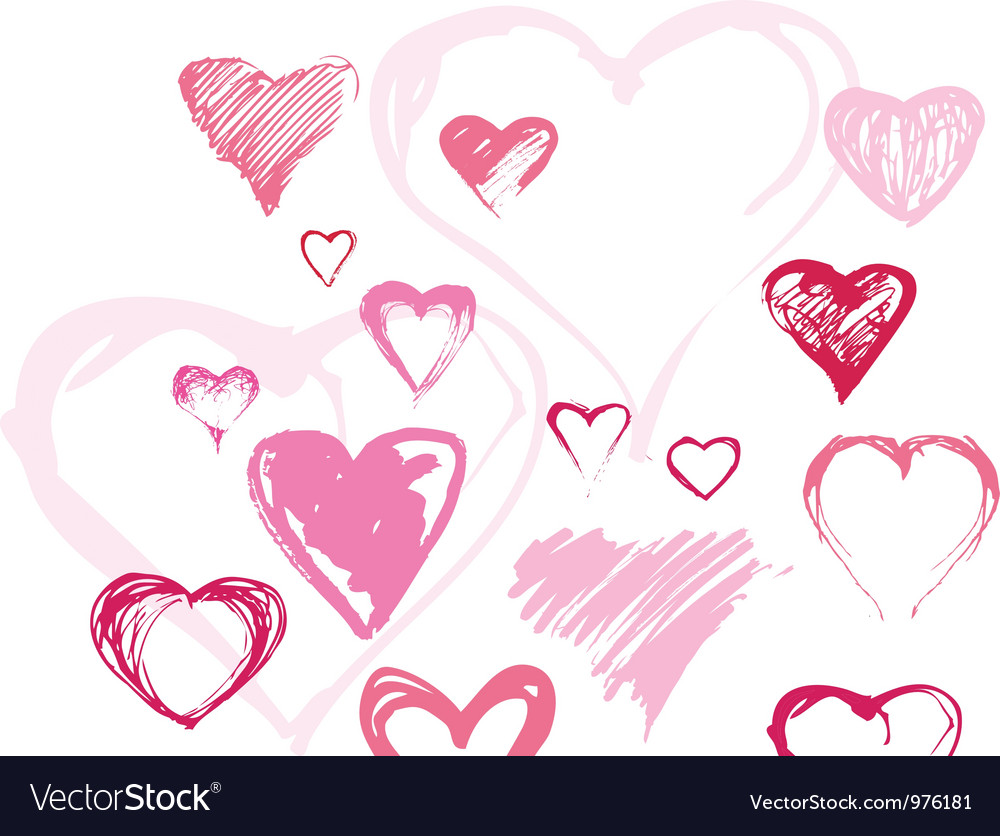 Set of different handdrawn hearts vector | Price: 1 Credit (USD $1)