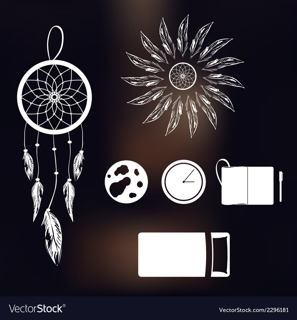 Set of icons on a theme of lucid dream and deep vector | Price: 1 Credit (USD $1)
