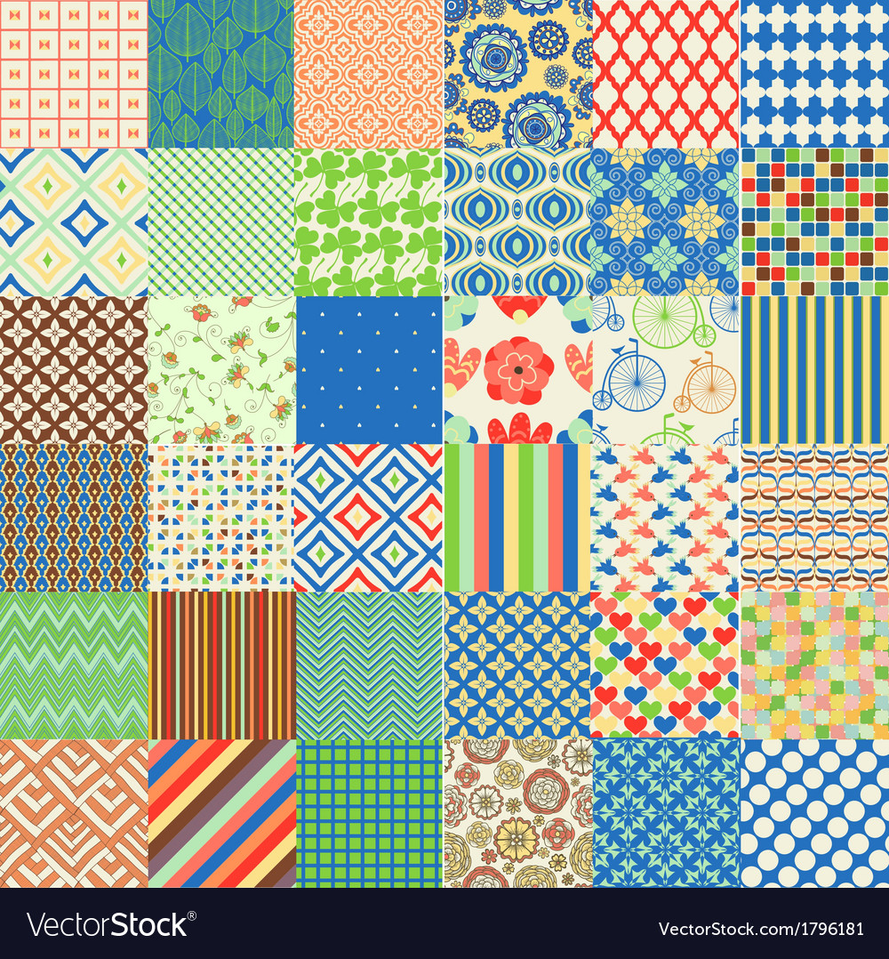 Set of seamless childish patterns vector | Price: 1 Credit (USD $1)