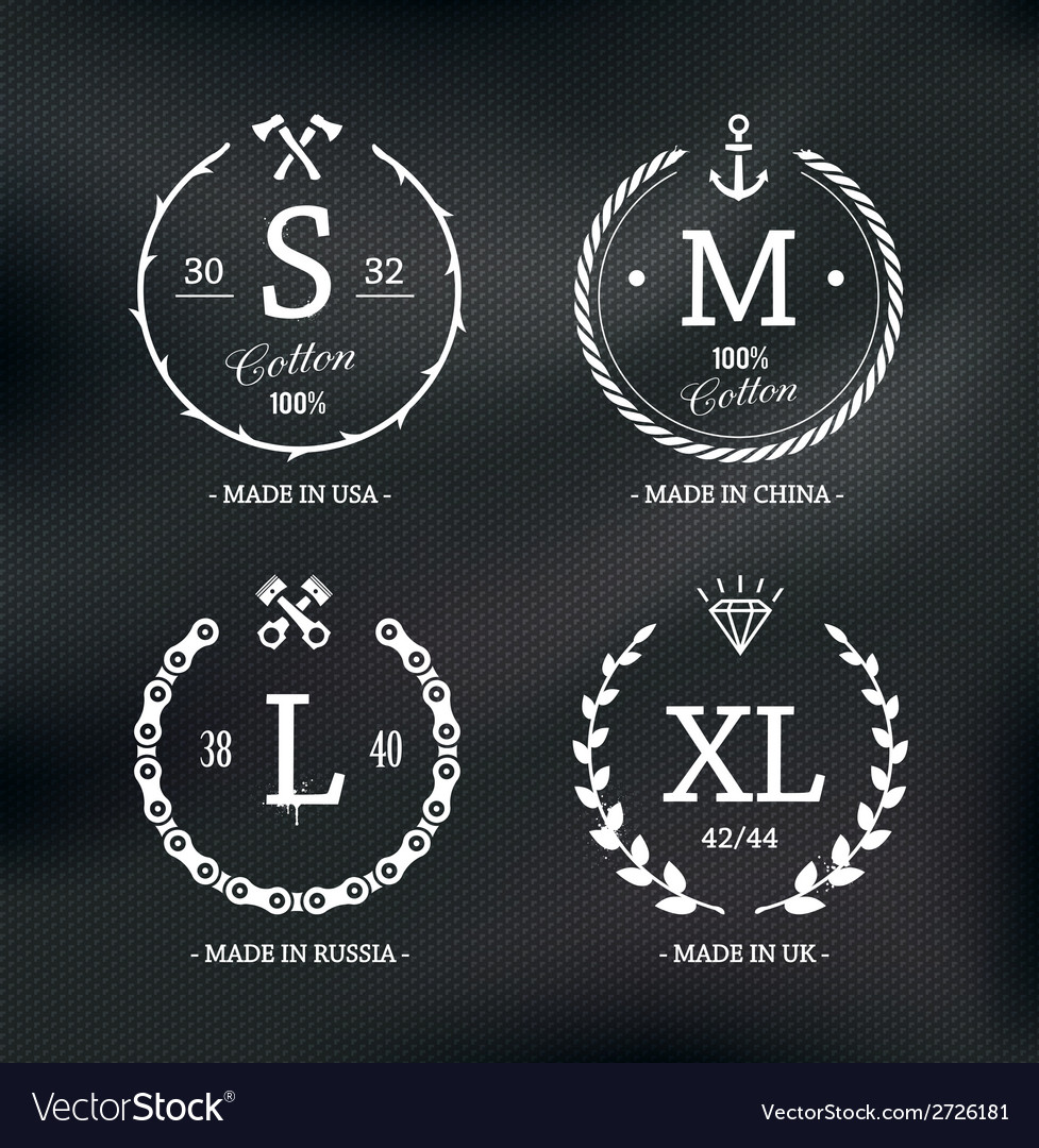 Size emblems 1 vector | Price: 1 Credit (USD $1)