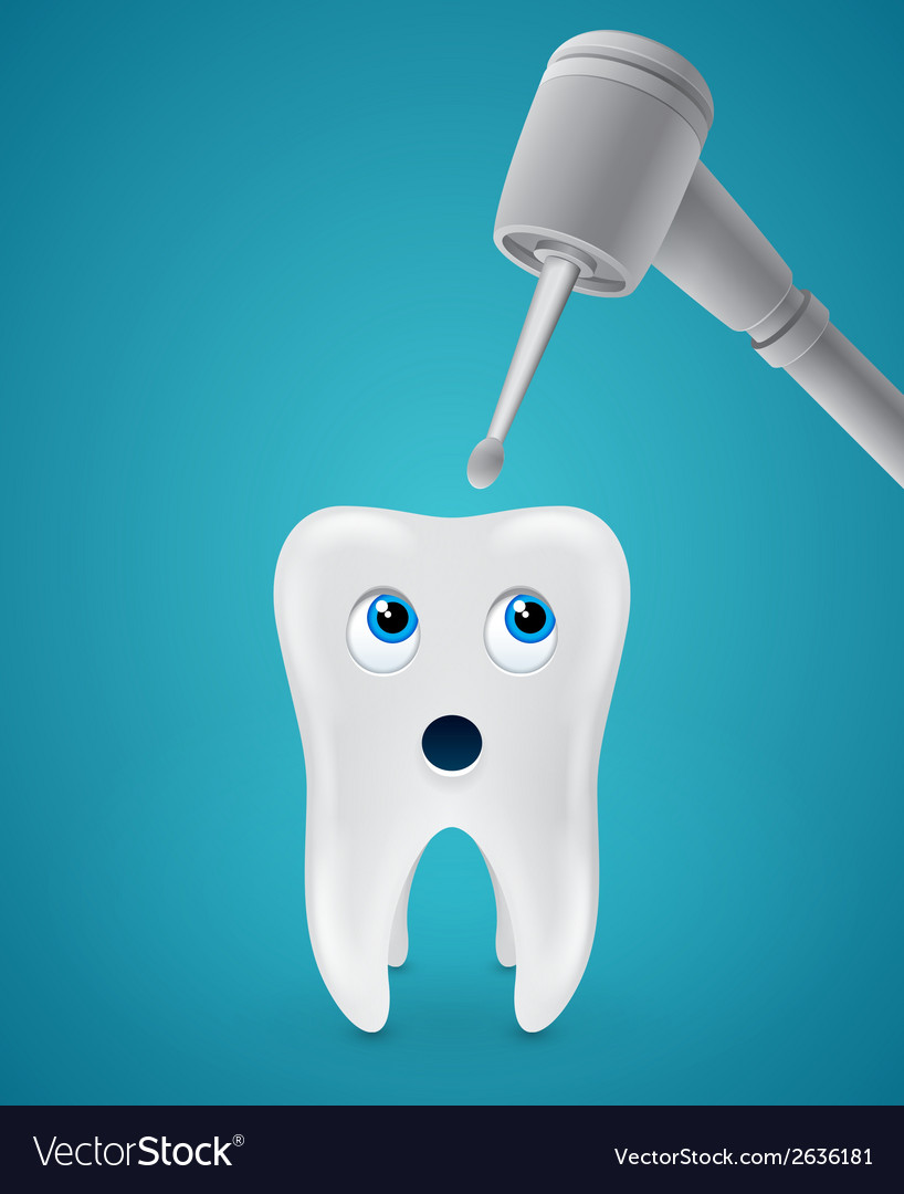 Tooth afraid dental drilling vector | Price: 1 Credit (USD $1)