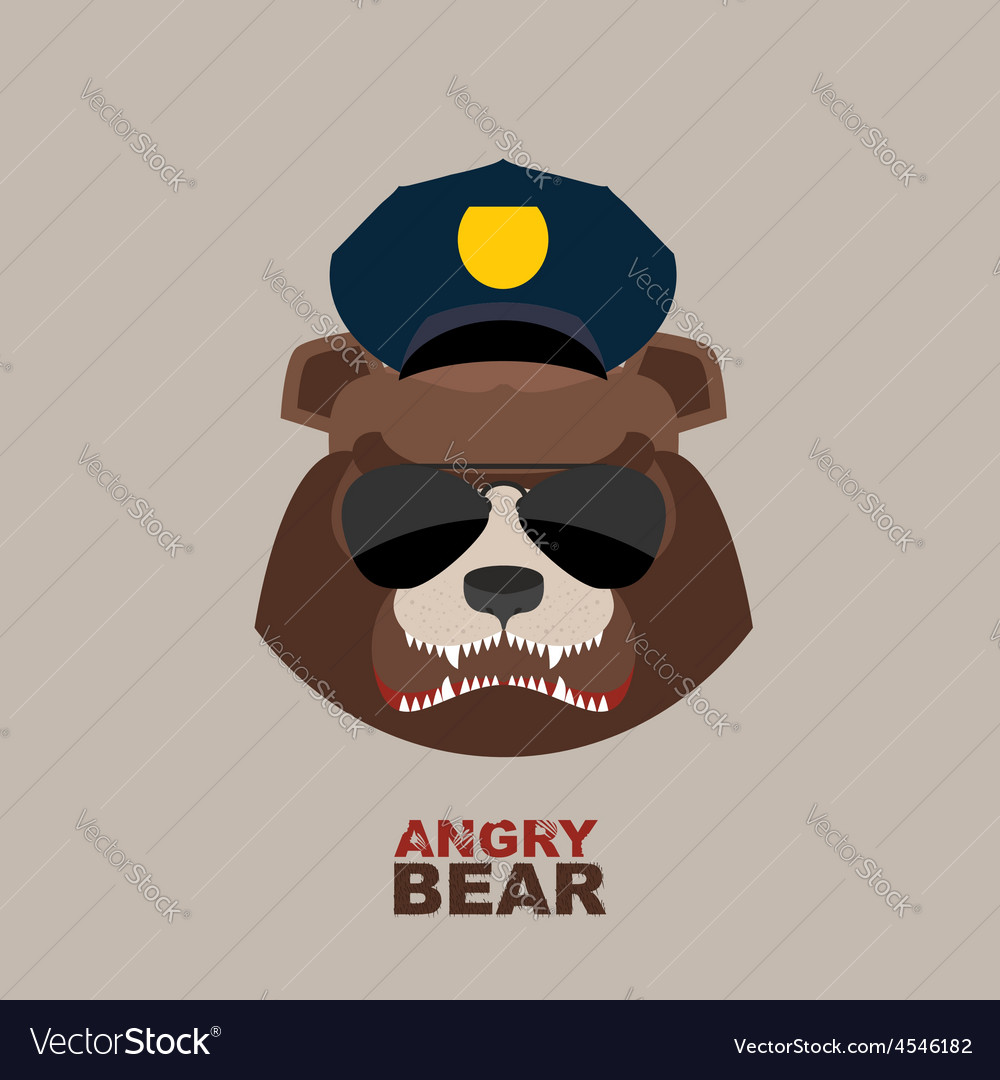 Angry bear bear police officer police cap vector | Price: 1 Credit (USD $1)