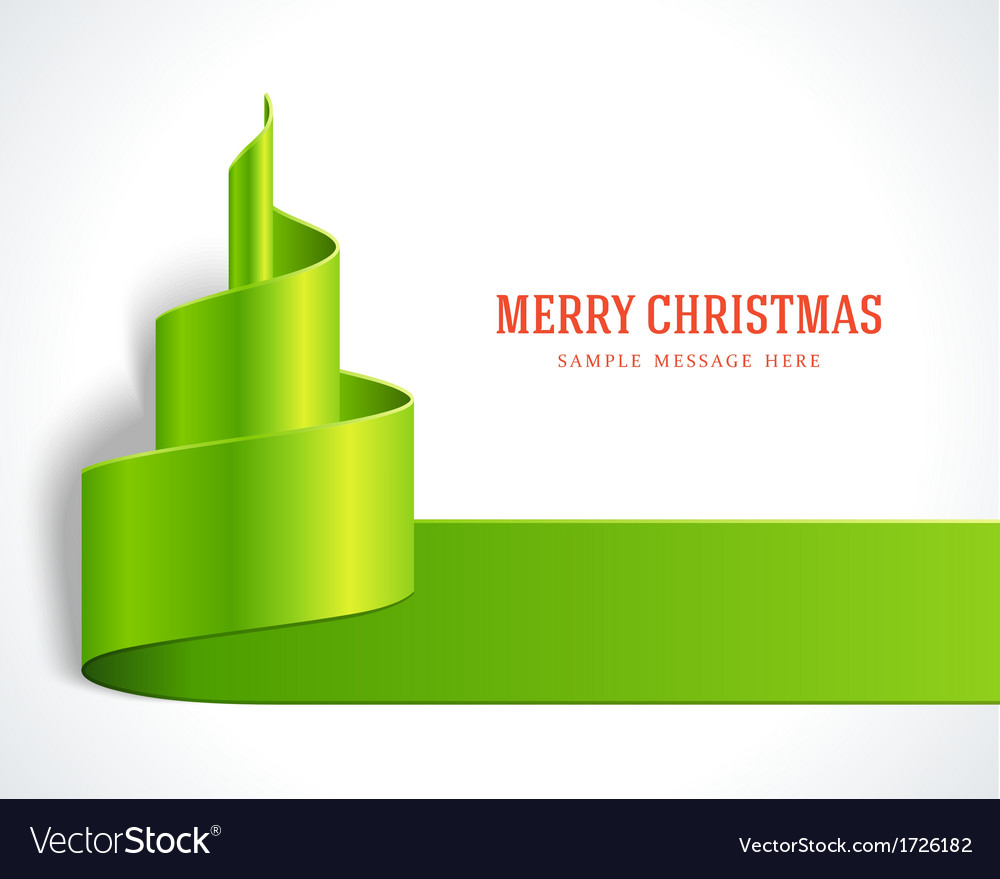 Christmas tree green from ribbon background vector | Price: 1 Credit (USD $1)