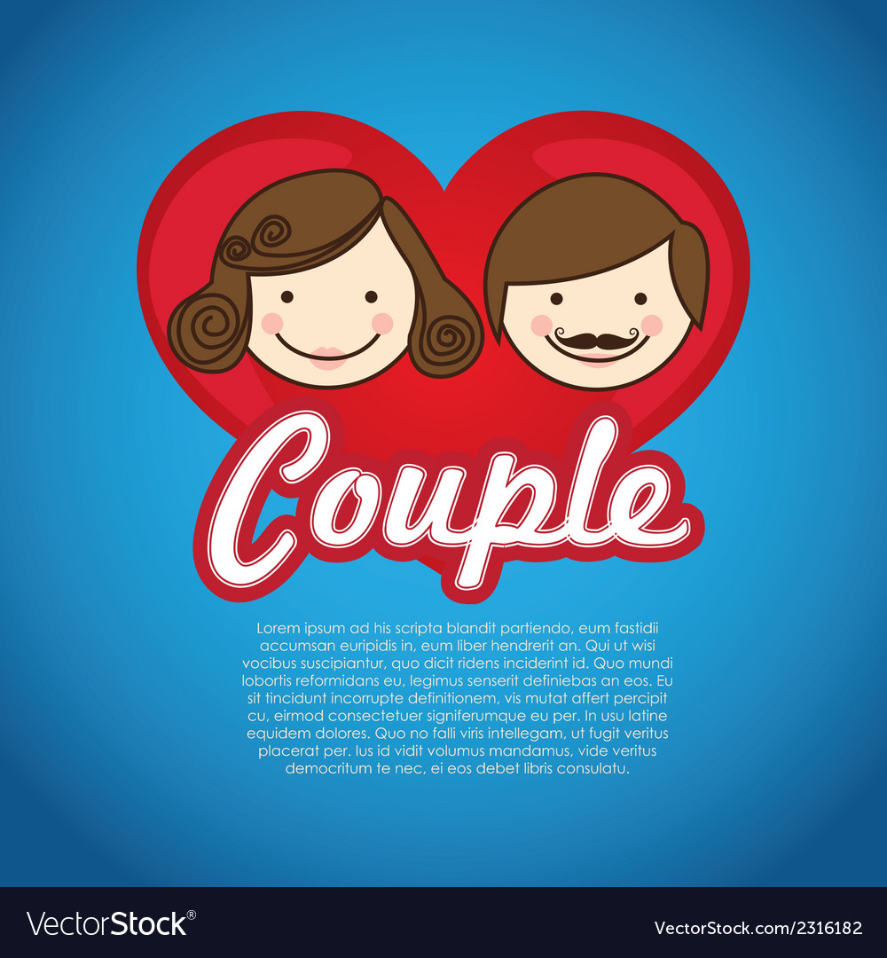 Couple on heart on blue background vector | Price: 1 Credit (USD $1)