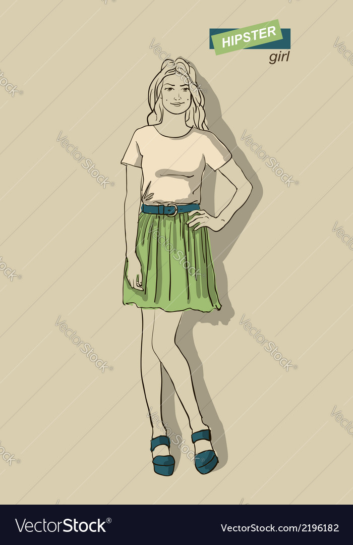 Fashion girls hipsters vector | Price: 1 Credit (USD $1)