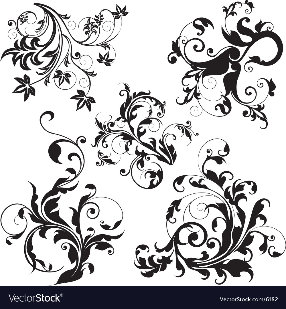 Floral design elements vector | Price: 3 Credit (USD $3)