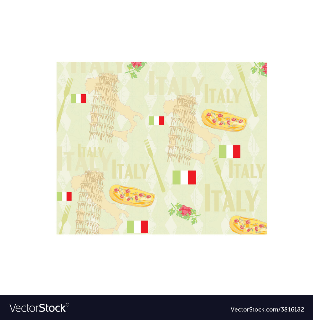 Italy travel seamless pattern with national vector | Price: 1 Credit (USD $1)