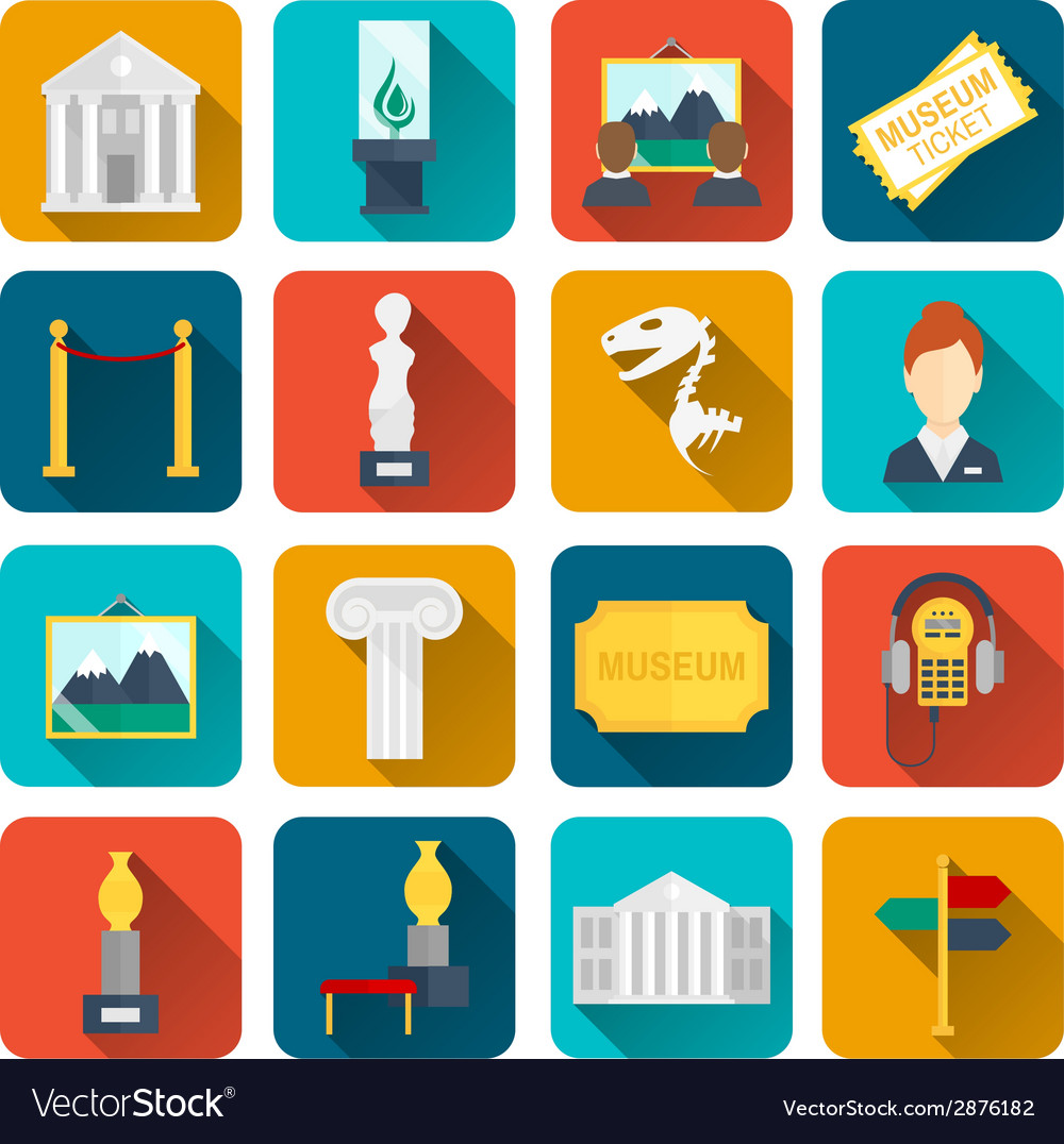 Museum icons flat vector | Price: 1 Credit (USD $1)