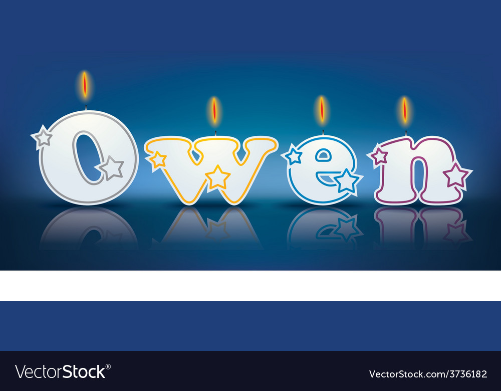 Owen written with burning candles vector | Price: 1 Credit (USD $1)