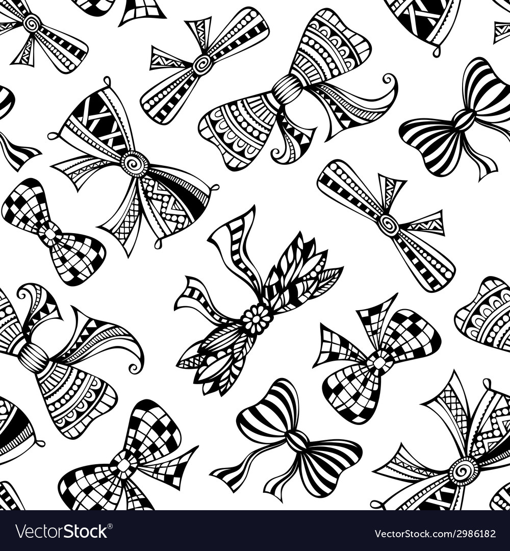 Seamless decorative pattern with bows vector | Price: 1 Credit (USD $1)