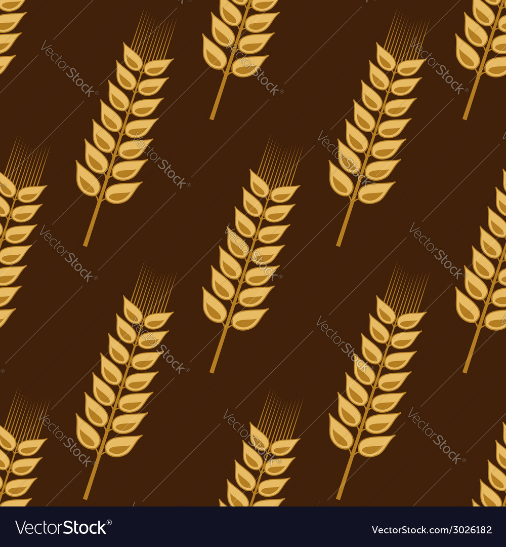 Seamless pattern of cereal golden wheat ears vector | Price: 1 Credit (USD $1)