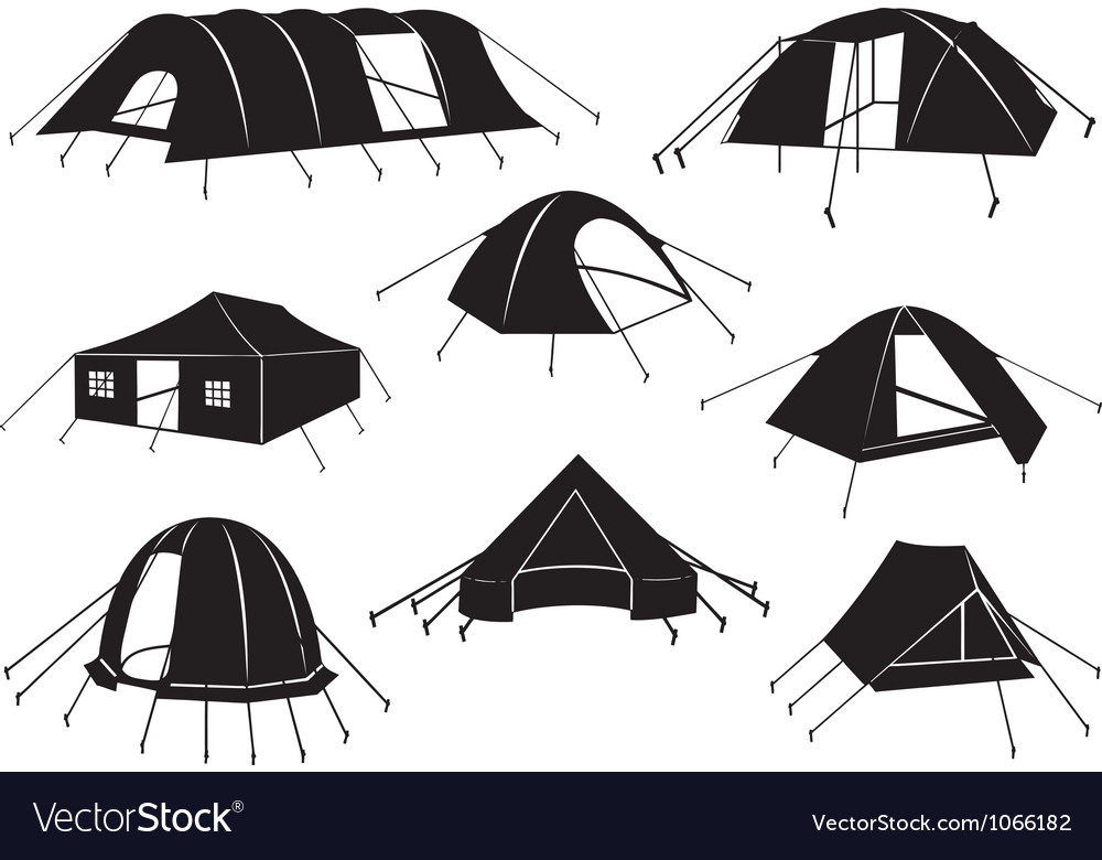 Set of tents isolated vector | Price: 1 Credit (USD $1)