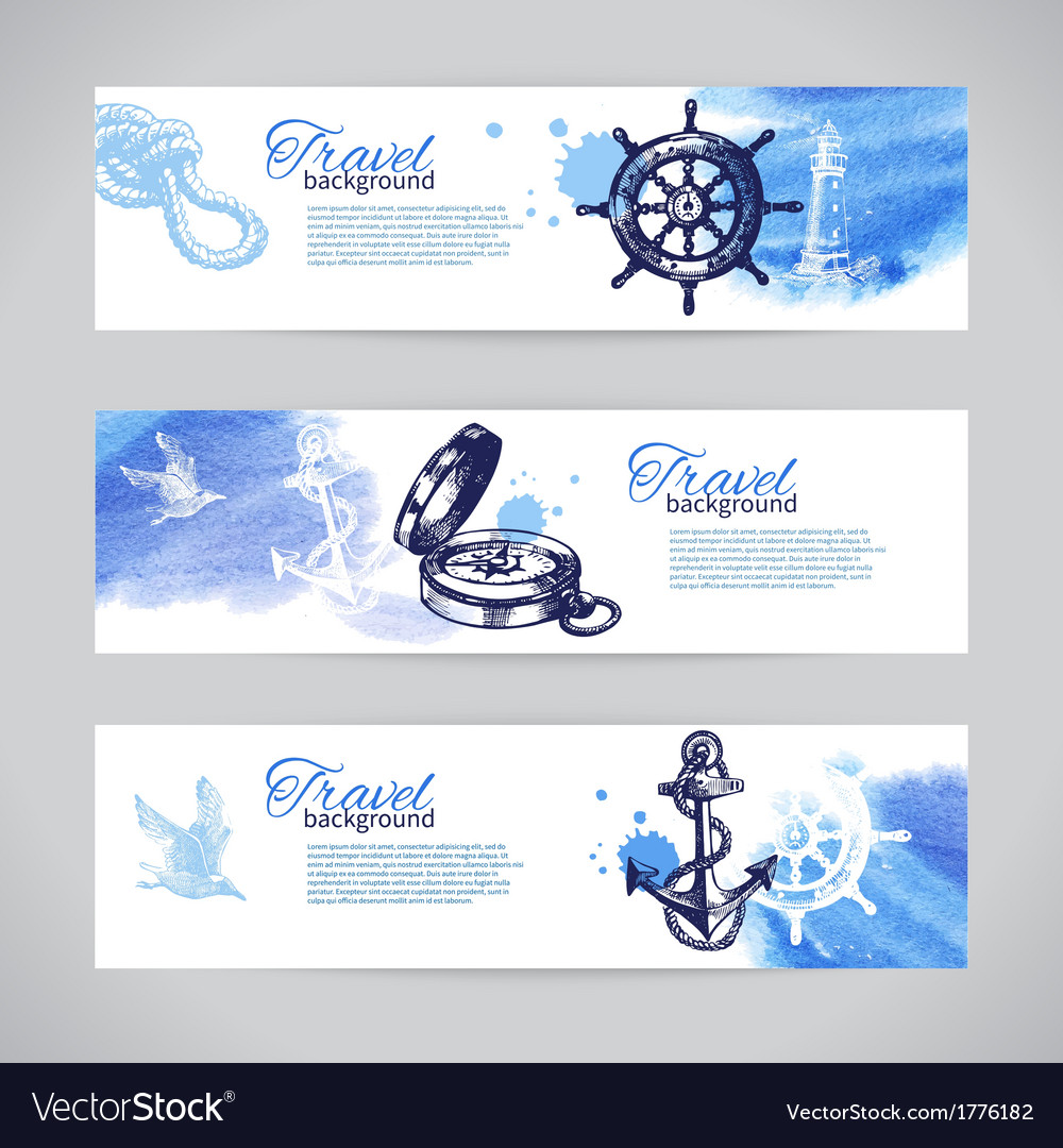 Set of travel banners sea nautical design vector | Price: 1 Credit (USD $1)