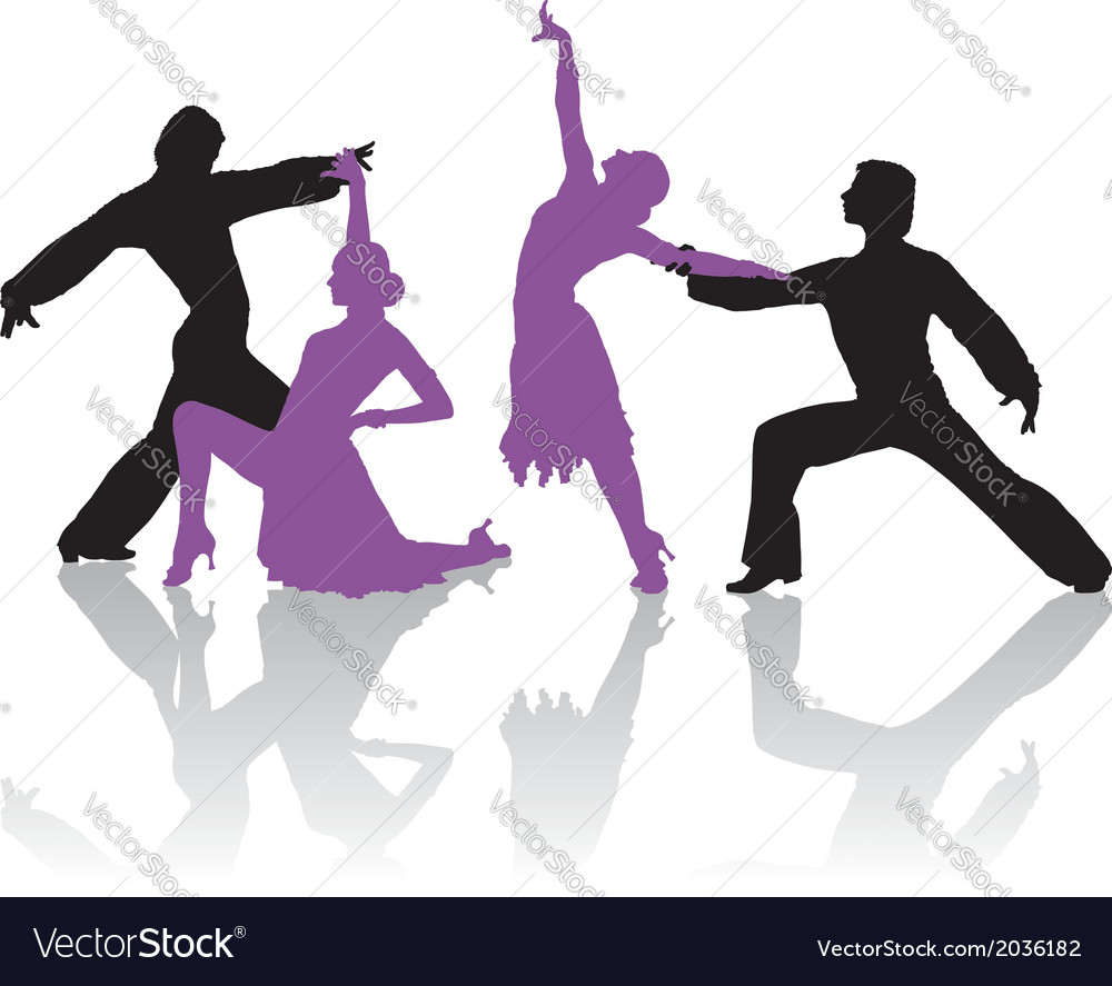 Silhouettes of couple dancing ballroom dance vector | Price: 1 Credit (USD $1)