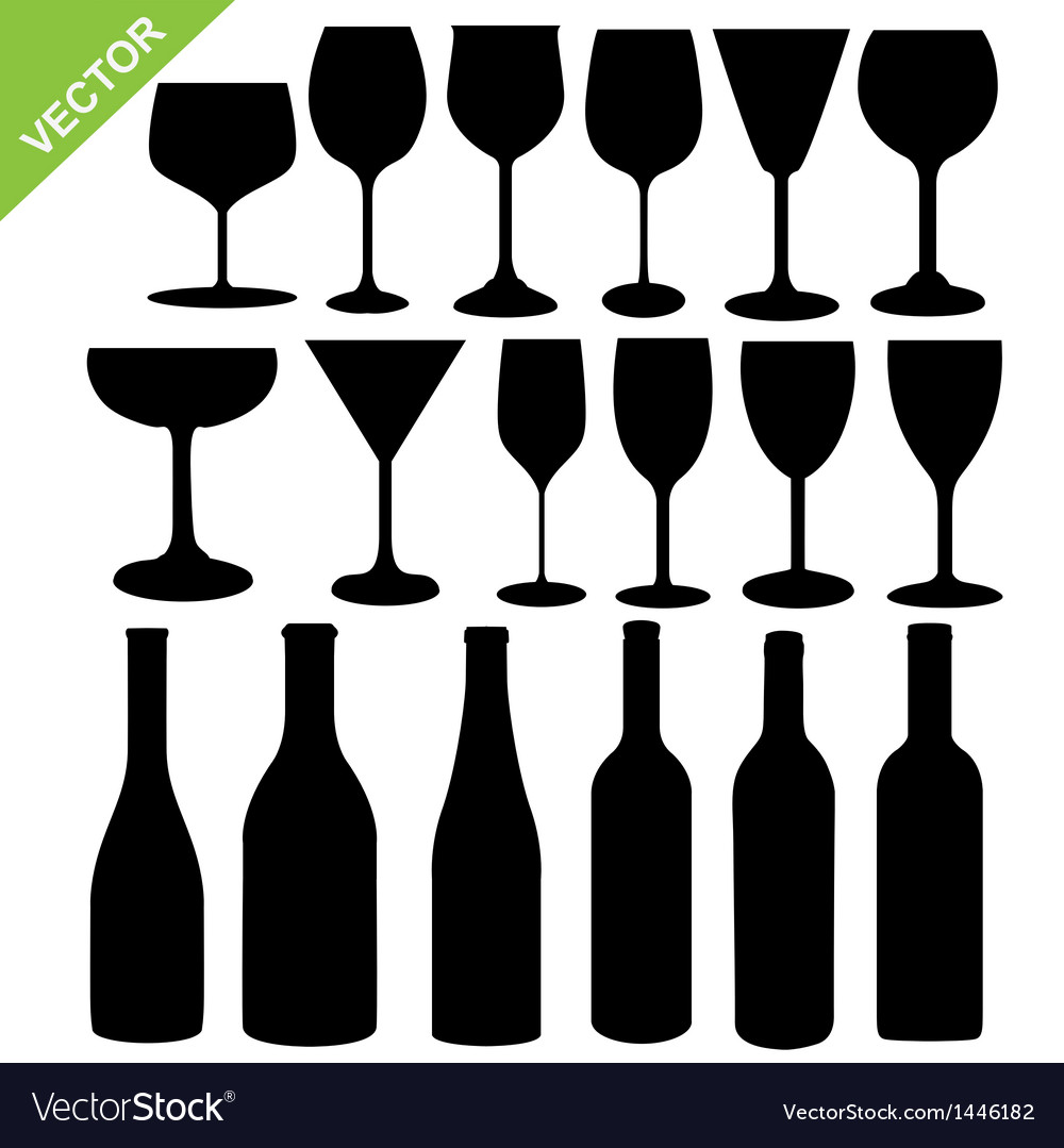 Wine bottles and glass silhouette vector | Price: 1 Credit (USD $1)