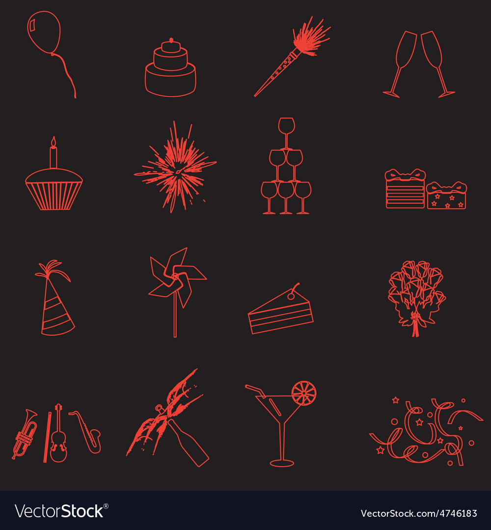 Celebration and party outline icons set eps10 vector | Price: 1 Credit (USD $1)