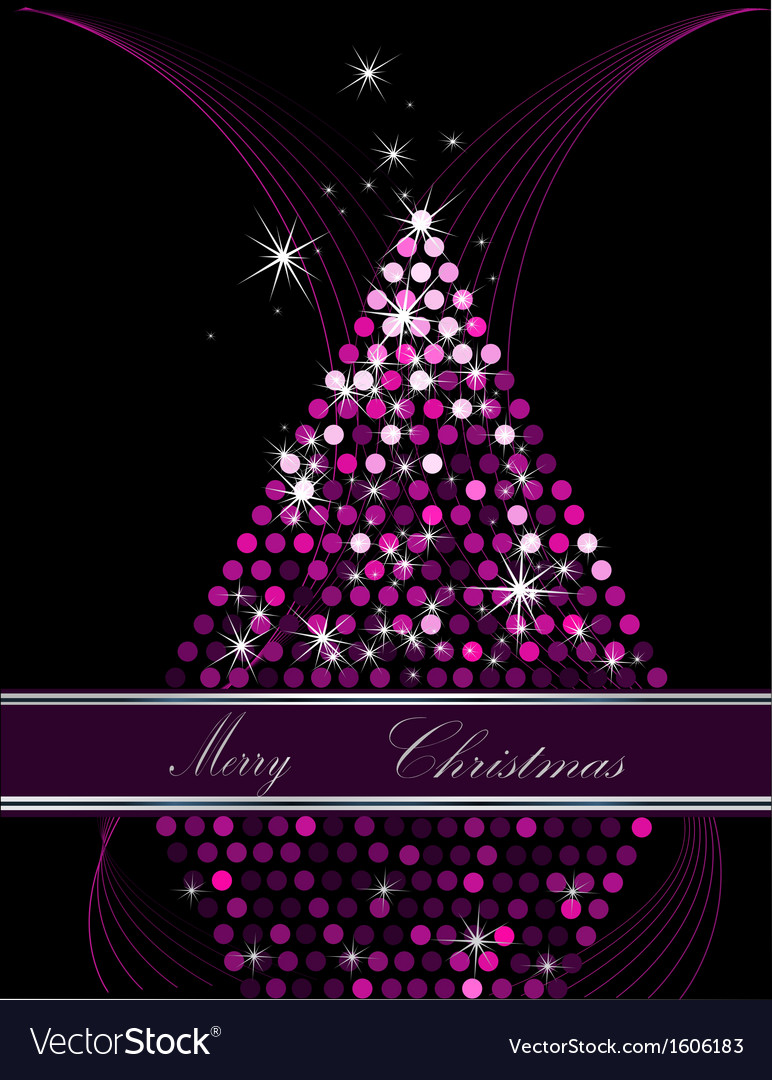Christmas tree pink and silver vector | Price: 1 Credit (USD $1)