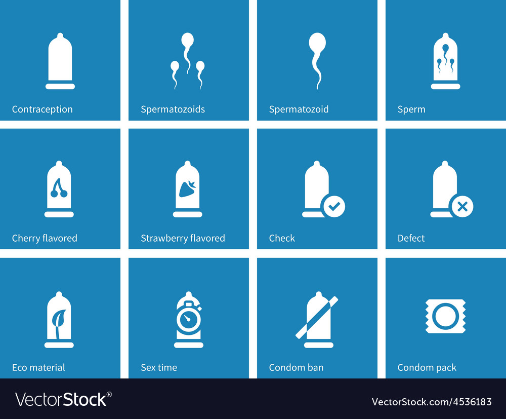 Condom pack icons on blue background vector | Price: 1 Credit (USD $1)