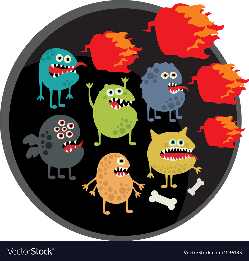 Cool monsters with fire vector | Price: 1 Credit (USD $1)