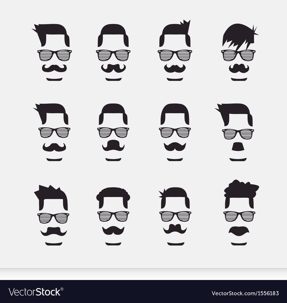 Face with mustaches hipster vector | Price: 1 Credit (USD $1)