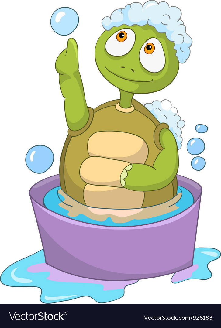 Funny turtle baby washing vector | Price: 3 Credit (USD $3)