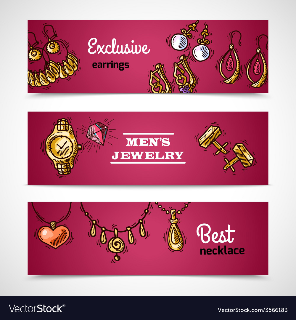 Jewelry banners set vector | Price: 1 Credit (USD $1)
