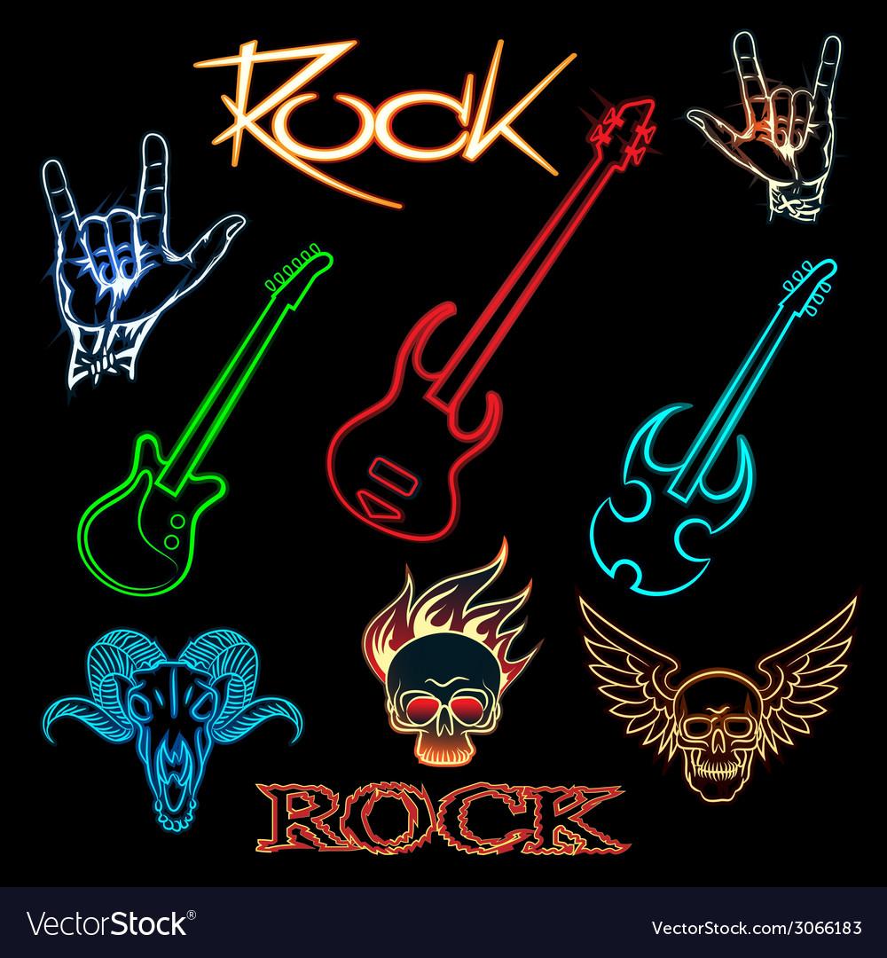 Neon rock vector | Price: 1 Credit (USD $1)