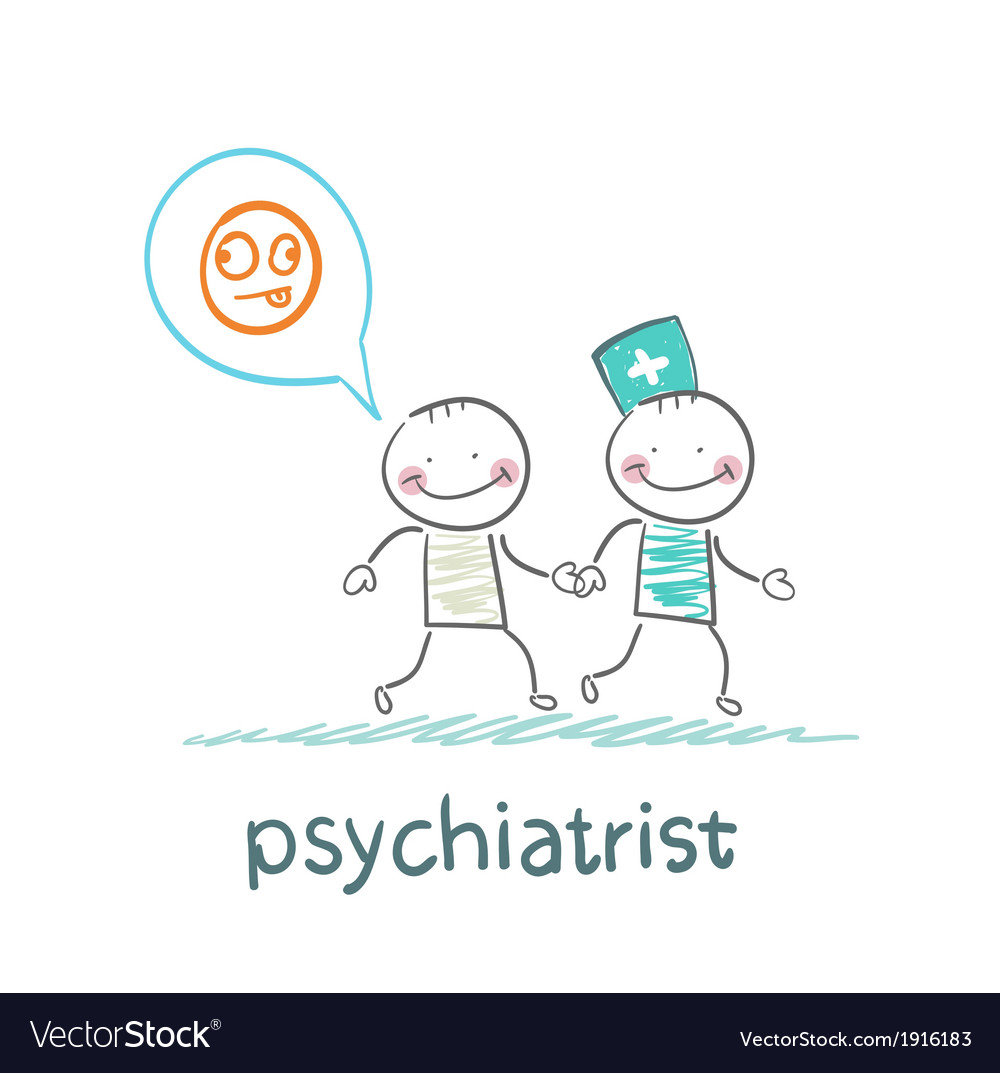 Psychiatrist goes to the patient which is crazy vector | Price: 1 Credit (USD $1)