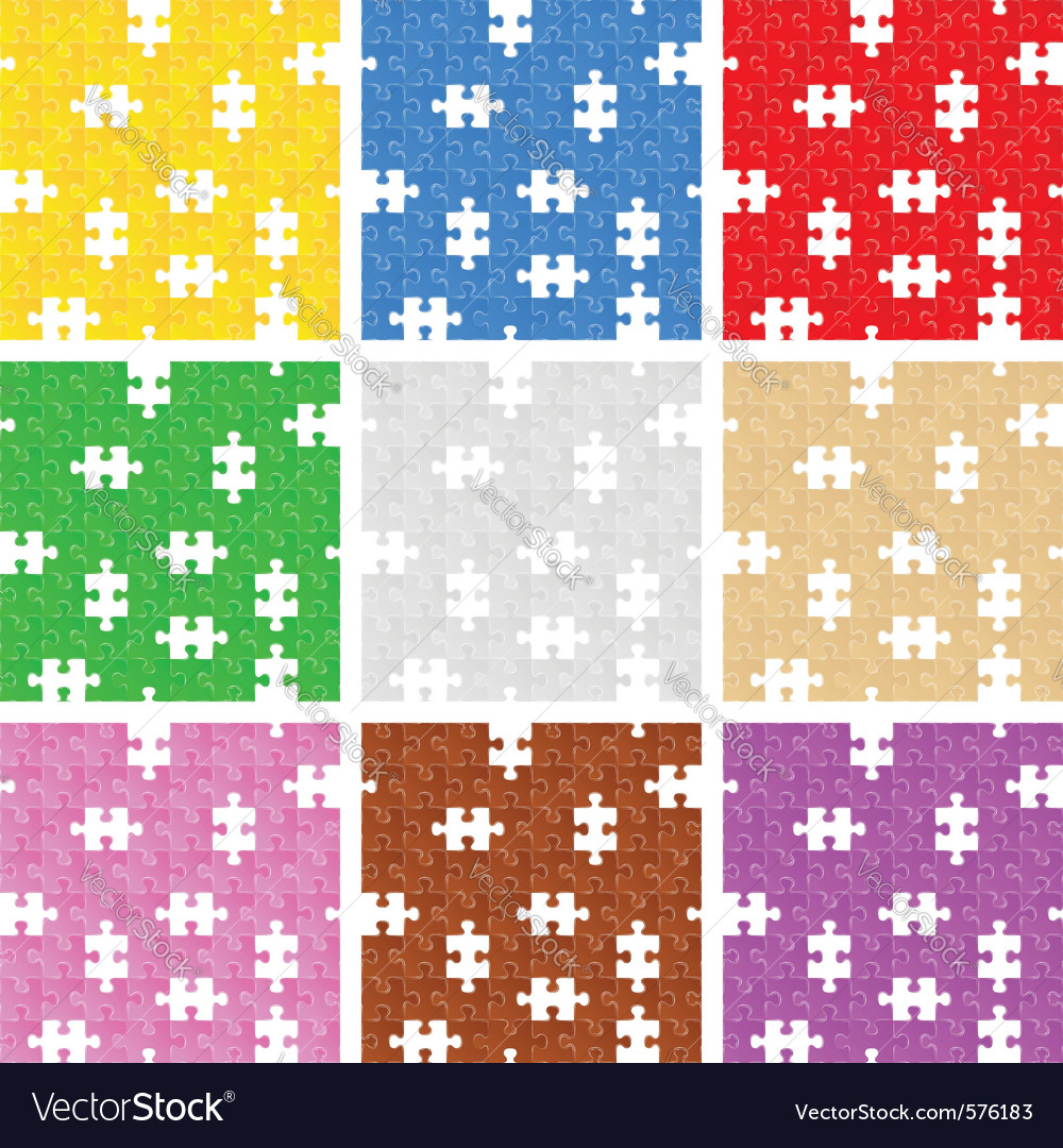 Seamless puzzle backgrounds vector | Price: 1 Credit (USD $1)