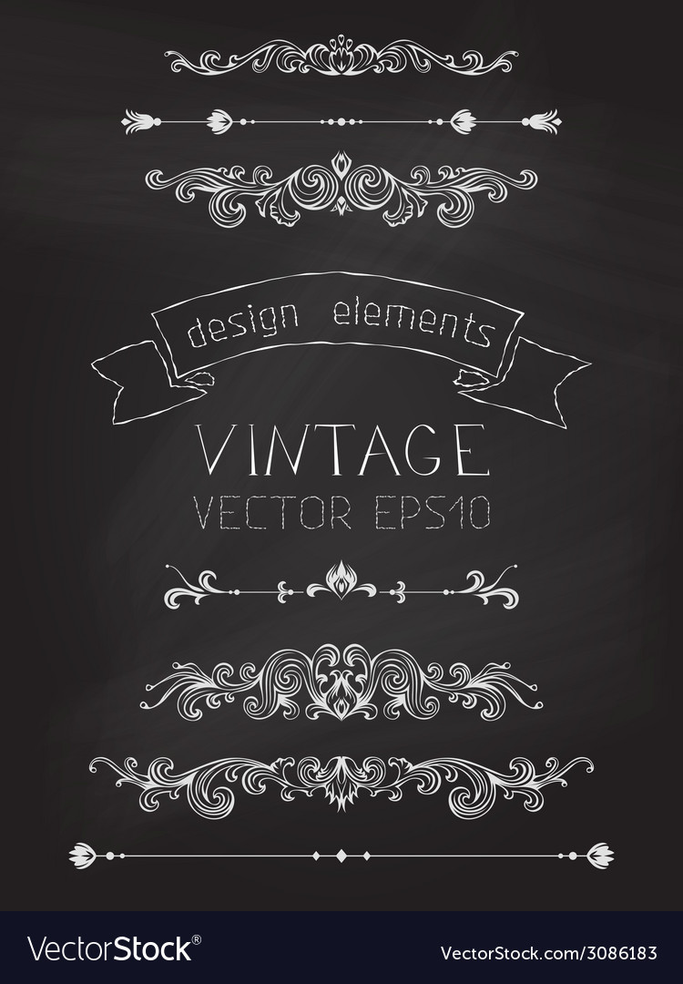 Set of chalk calligraphic design elements vector | Price: 1 Credit (USD $1)