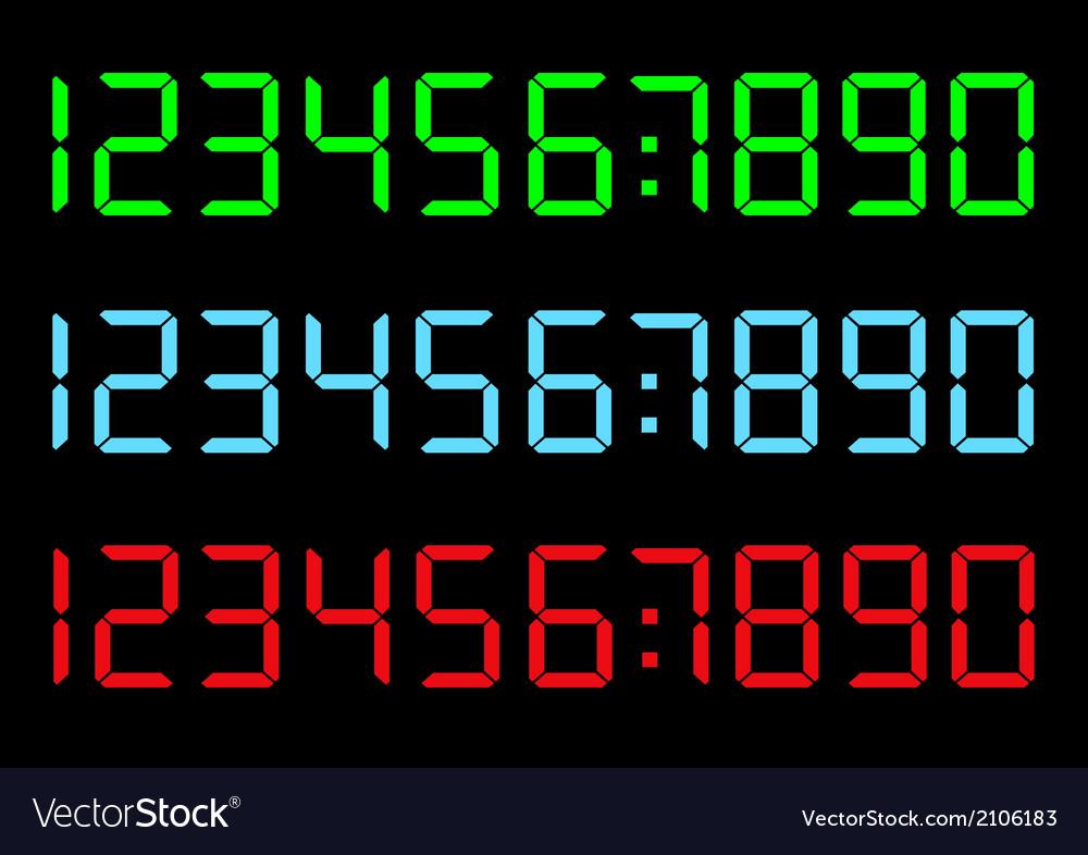 Set of digital numbers vector | Price: 1 Credit (USD $1)