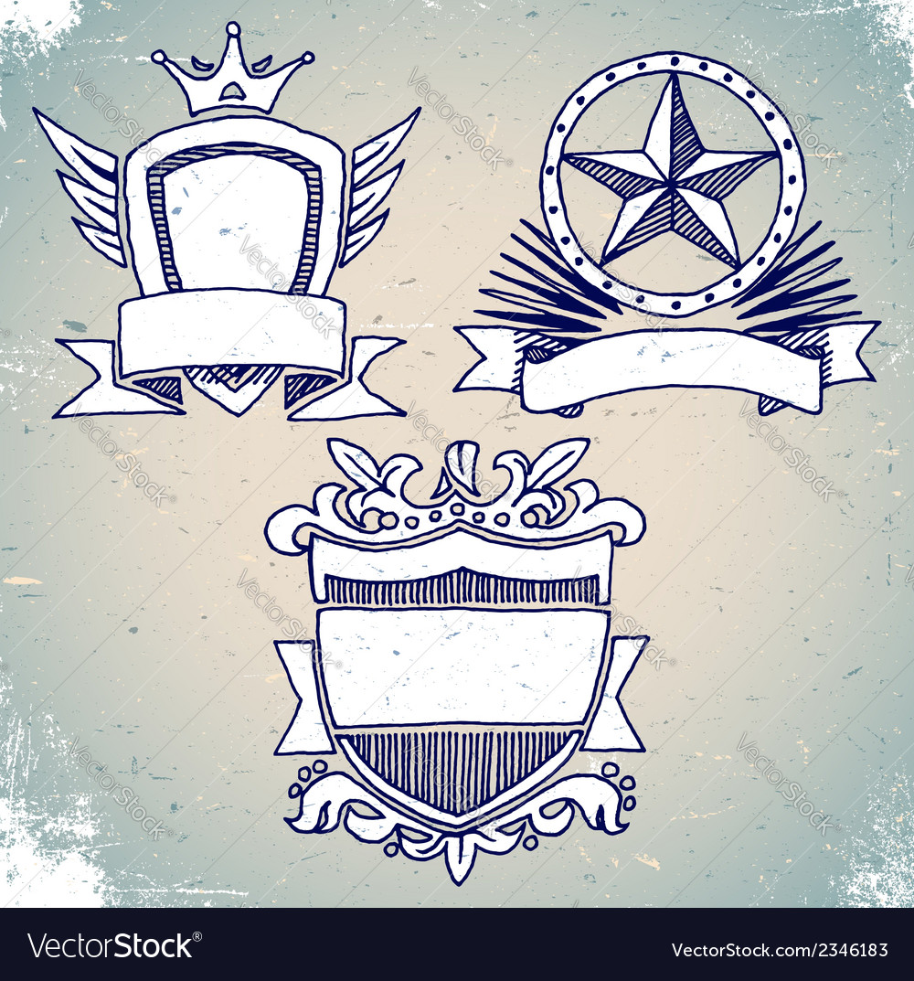 Set of sketch vintage shield labels vector | Price: 1 Credit (USD $1)