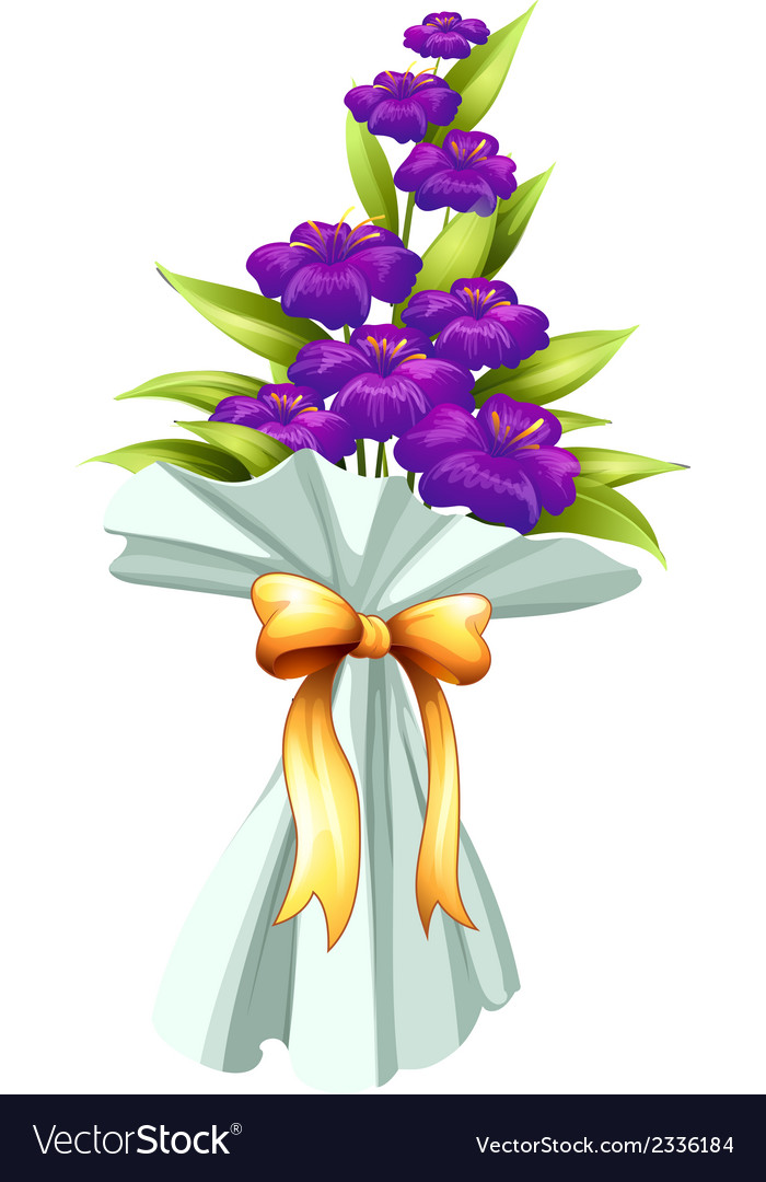 A boquet of fresh violet flowers vector | Price: 1 Credit (USD $1)