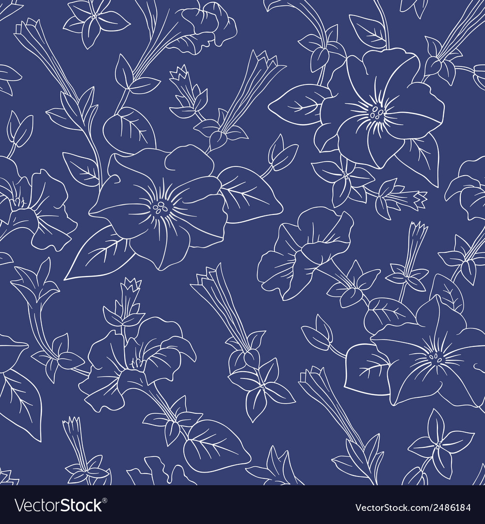 Blue floral seamless pattern vector | Price: 1 Credit (USD $1)