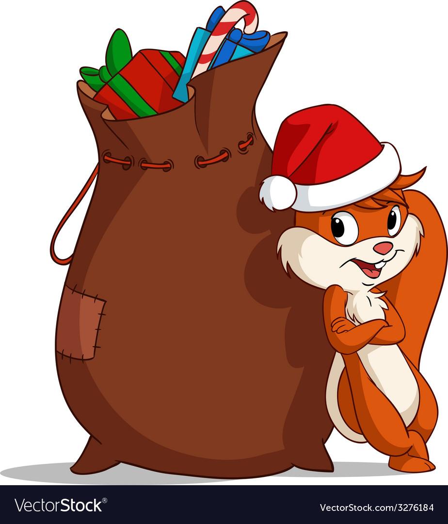 Christmas bag squirrel vector   Price: 1 Credit (USD $1)
